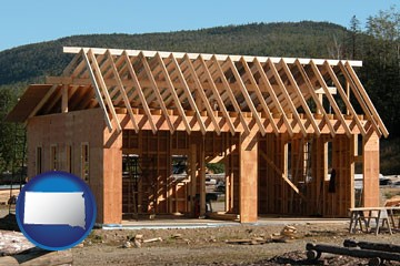 building a two-car garage - with South Dakota icon